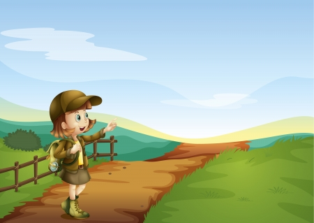 woman hiking: Illustration of a girl on a road in a beautiful nature