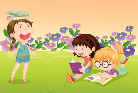childrens: Illustration of girls reading books in a beautiful nature Illustration