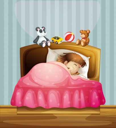 woman sleep: Illustration of a sleeping girl in her bedroom Illustration