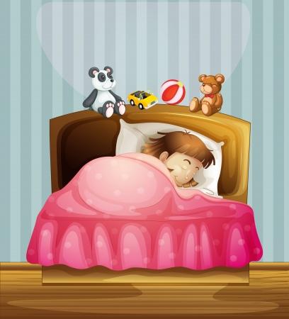 child bedroom: Ilustraci�n de una ni�a durmiendo en su dormitorio