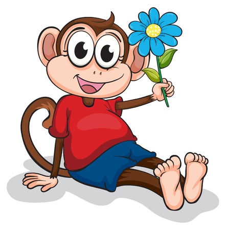 Illustration of a monkey with a blue flower on a white background Vector