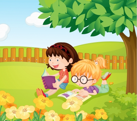 kids reading book: Illustration of girls reading books under a tree on a field