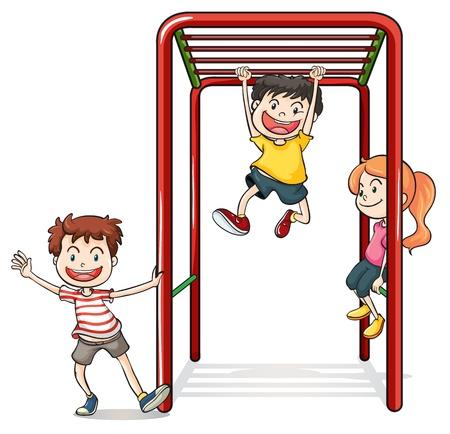 hanging woman: Illustrazione di bambini che giocano con barre di scimmia su uno sfondo bianco