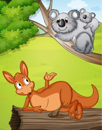 bush babies: Illustration of a kangaroo and koalas in a beautiful nature