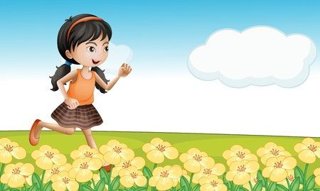 shoes cartoon: Illustration of a girl running in a flower field