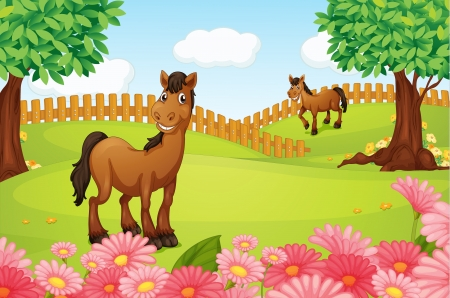 arboles frondosos: Ilustración de los caballos en un campo en una hermosa naturaleza