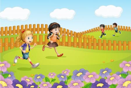 Illustration of kids running on a field Stock Vector - 16969818