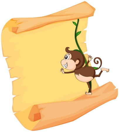 plant stand: Illustration of a monkey and a roll on a white background