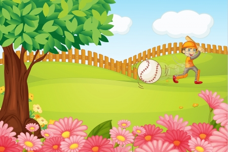 Illustration of a boy playing cricket in a beautiful nature Vector