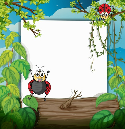 Illustration of a ladybug and a white board in a beautiful nature Vector