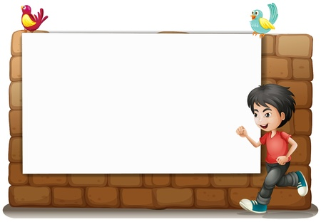 Illustration of a white board, a boy and birds on a white background Stock Vector - 16969796