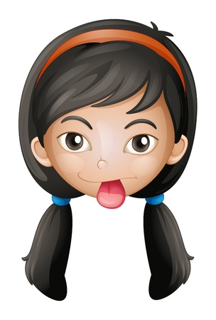 long black hair: Illustration of a face of a girl on a white background Illustration