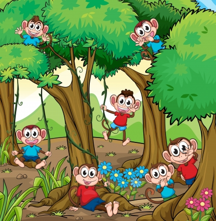 Illustration of monkeys playing in the jungle Vector
