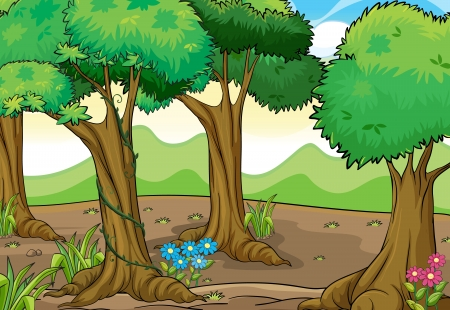 jungle cartoon: Ilustraci�n de �rboles y flores en una hermosa naturaleza Vectores