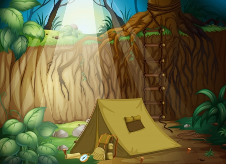 foldable: Illustration of a camping tent in a beautiful nature Illustration