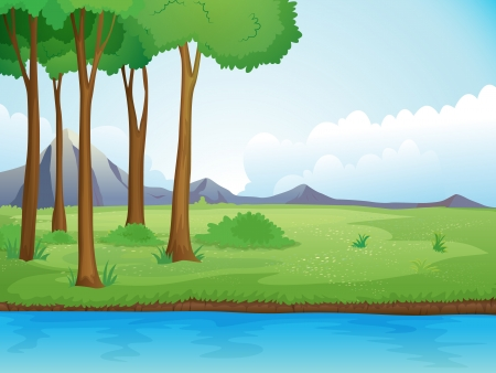 flowing river: Illustration of a river and a tree in a beautiful nature Illustration