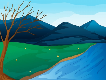 Illustration of a river and mountains Vector
