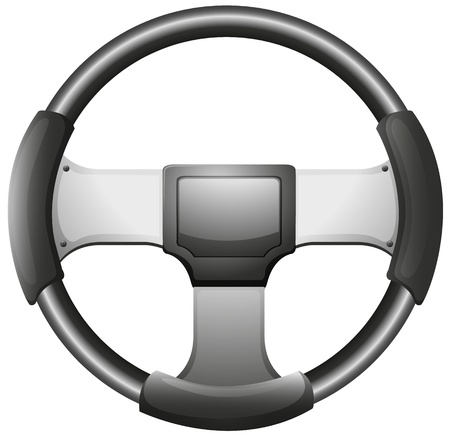 steering: Illustration of a steering wheel on a white background Illustration
