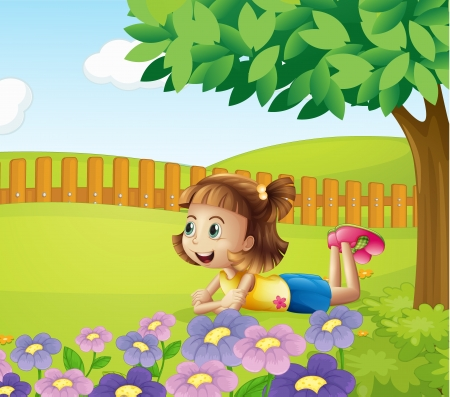 Illustration of a girl lying in a beautiful nature Vector