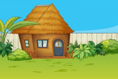 Illustration eines Hauses in einer wunderschönen Natur