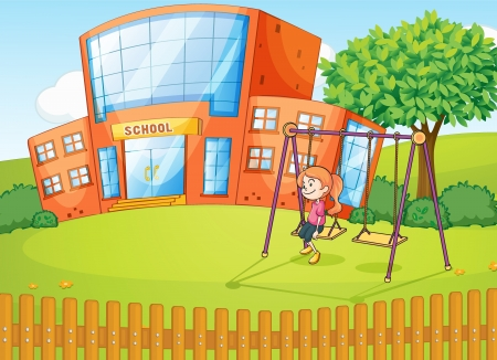 school playground: Illustration of a girl and a school in a beautiful nature