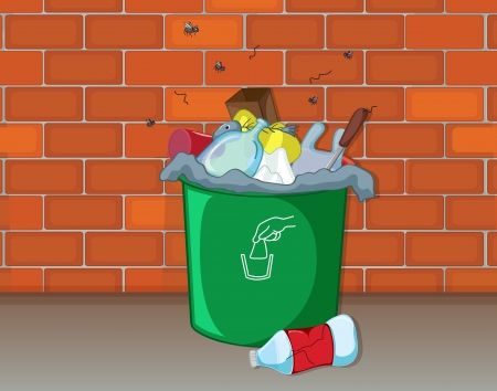 garbage bag: Illustration of a dustbin in front of a wall Illustration