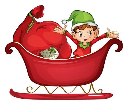 elfos navideÑos: Ilustración de un muchacho sonriente en un trineo sobre un fondo blanco