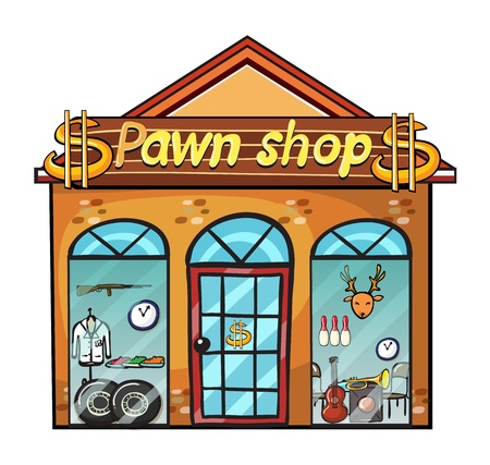 Illustration of a pawnshop on a white background Vector