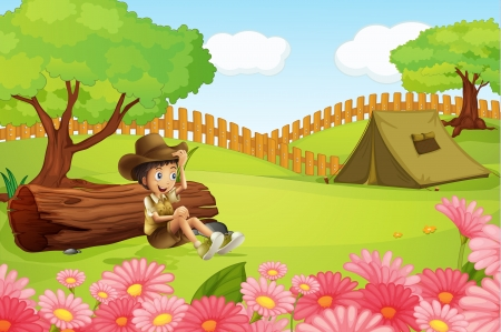 Illustration of a boy and a tent in a beautiful nature Vector