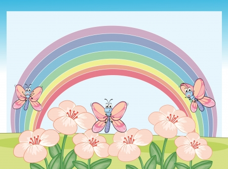 Illustration of dragonflies and rainbow in a beautiful nature Vector