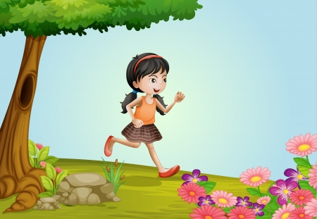Illustration of a girl running in a beautiful nature Vector