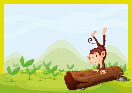 cheeky: Illustration of a monkey playing on a wood in a green nature