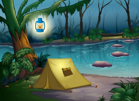 Illustration of a tent in dark night near water Vector