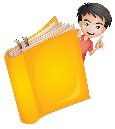 one colour: Illustration of a boy and a book on a white background Illustration