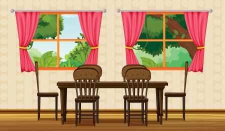 dinning table: Illustration of a dinning table and chairs in a room Illustration