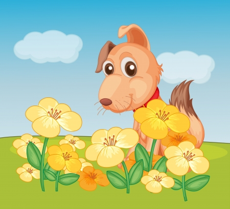 flora fauna: Illustration of a dog and flower plant in a beautiful nature Illustration