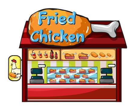 whole chicken: Illustration of a fast food restaurant on a white background