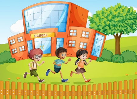 Illustration of kids and a school in a beautiful nature Stock Vector - 17024750