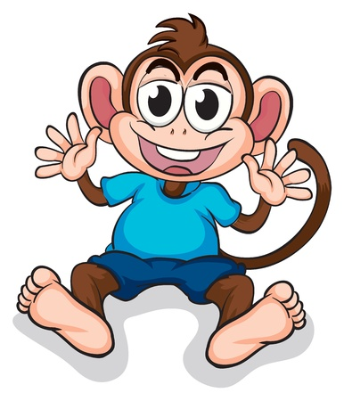 Illustration of a happy monkey on a white background Vector