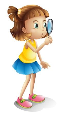 loupe: Illustration d'une fille et une loupe sur un fond blanc Illustration