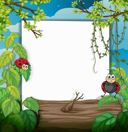 lady bug: Illustration einer Dame Bug-und eine wei�e Tafel in einer wundersch�nen Natur Illustration