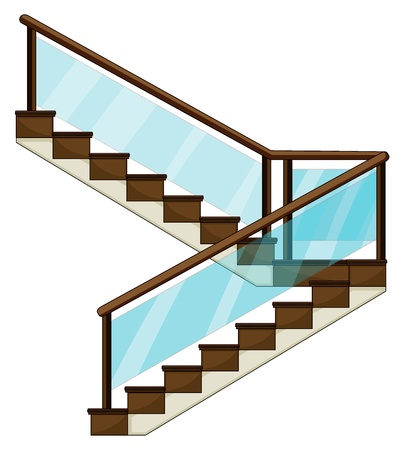railing: Illustration d'un escalier sur un fond blanc