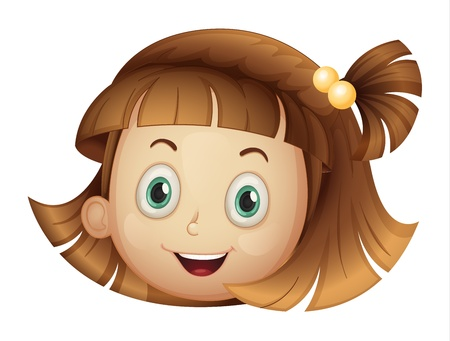 naughty child: Illustration of a face of a girl on a white background Illustration