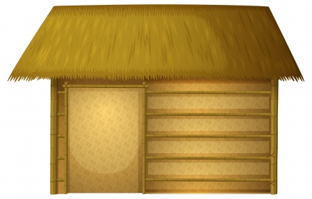 a house with a straw: Illustration of a house on a white background