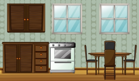 Illustration of a kitchen in a house Vector