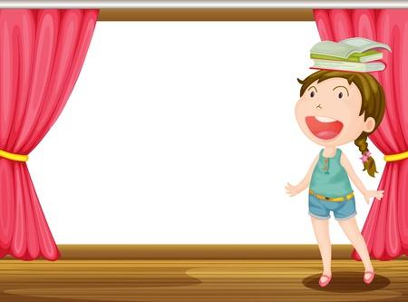 b�hnenvorhang: Illustration eines l�chelnden M�dchens mit B�cher auf dem Kopf auf der B�hne Illustration