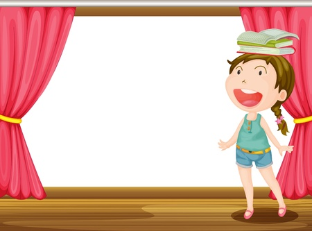 curtain window: Illustration of a smiling girl with books on head on the stage Illustration