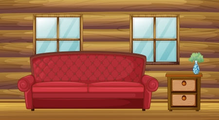 Illustration of red sofa and side table in wooden room Vector