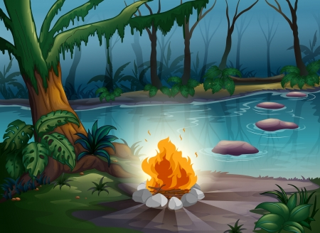 illustration of a camp fire in a beautiful nature Vector