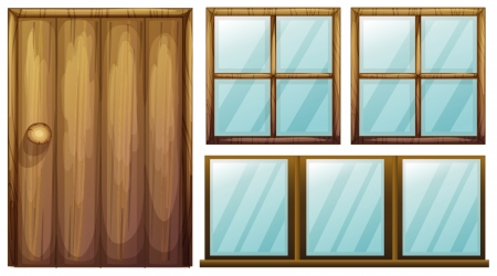 wooden window: Illustration of a door and windows on a white background